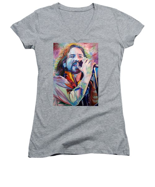 Eddie Vedder In Pink And Blue Women's V-Neck (Athletic Fit)