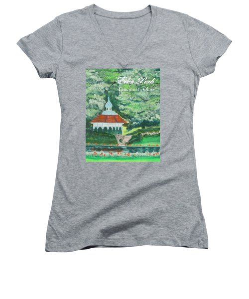 Women's V-Neck T-Shirt (Junior Cut) featuring the painting Eden Park Gazebo  Cincinnati Ohio by Diane Pape