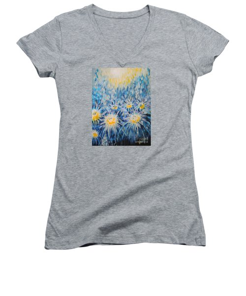 Women's V-Neck T-Shirt (Junior Cut) featuring the painting Edentian Garden by Holly Carmichael
