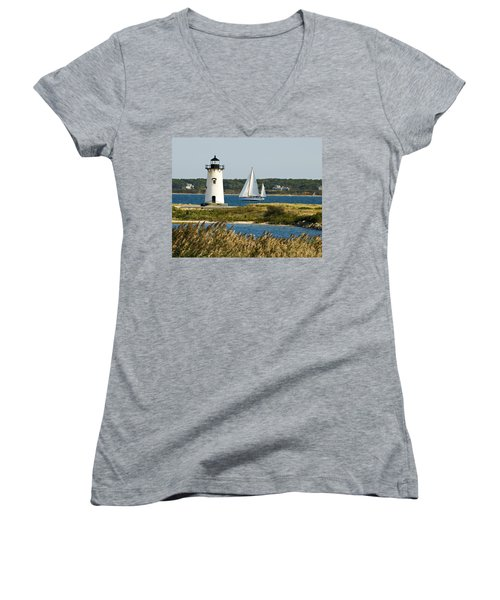 Edgartown Light At Martha's Vineyard Women's V-Neck