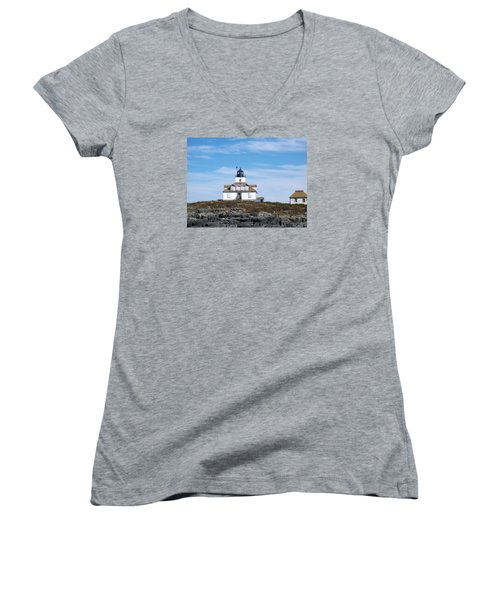 Egg Rock Lighthouse Women's V-Neck T-Shirt (Junior Cut) by Catherine Gagne