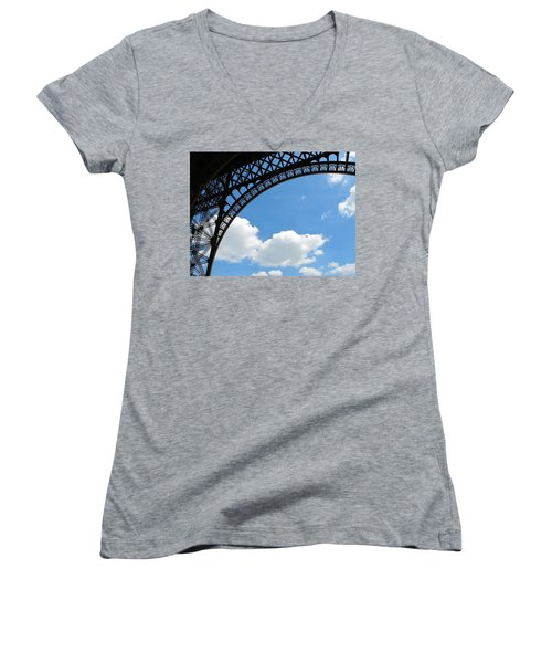 Eiffel Clouds Women's V-Neck (Athletic Fit)