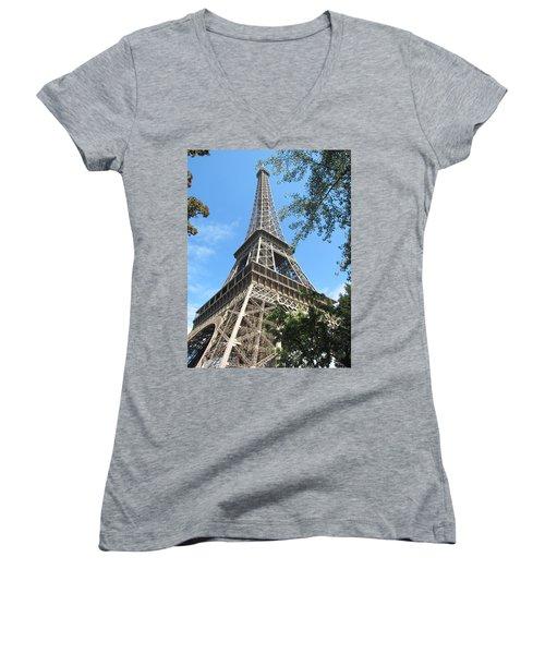 Women's V-Neck T-Shirt (Junior Cut) featuring the photograph Eiffel Tower - 2 by Pema Hou