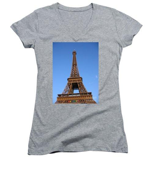 Eiffel Tower 2005 Ville Candidate Women's V-Neck T-Shirt (Junior Cut) by HEVi FineArt