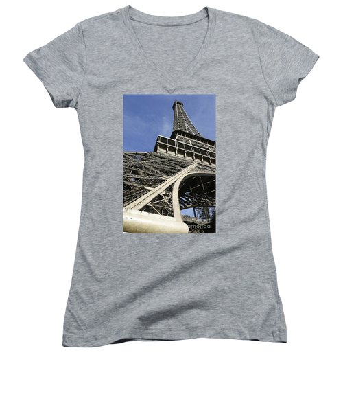 Women's V-Neck T-Shirt (Junior Cut) featuring the photograph Eiffel Tower by Belinda Greb