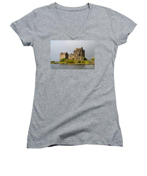 Eilean Donan Castle In Scotland Women's V-Neck T-Shirt