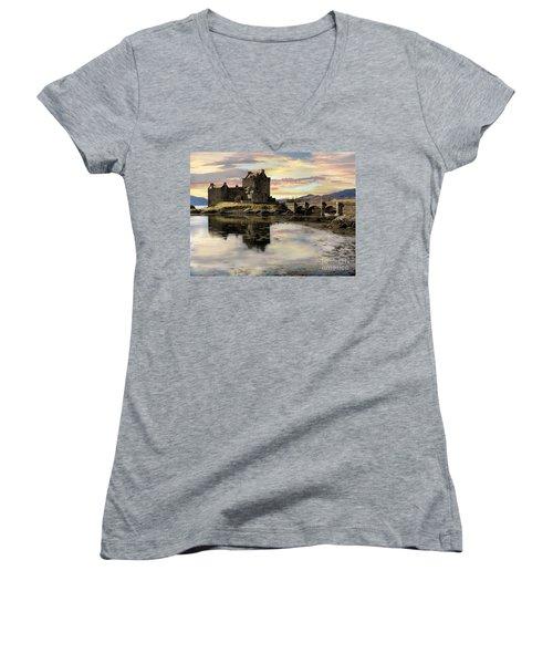 Eilean Donan Castle Scotland Women's V-Neck T-Shirt (Junior Cut) by Jacqi Elmslie