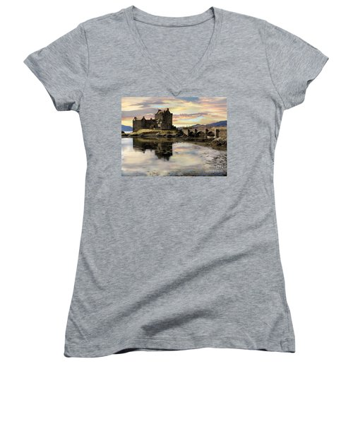 Eilean Donan Castle Scotland Women's V-Neck T-Shirt