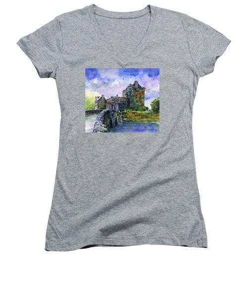 Eilean Donan Castle Scotland Women's V-Neck T-Shirt (Junior Cut) by John D Benson