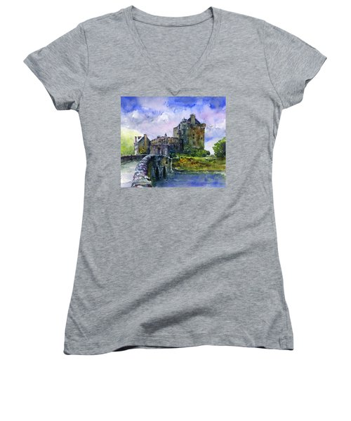 Eilean Donan Castle Scotland Women's V-Neck T-Shirt (Junior Cut)
