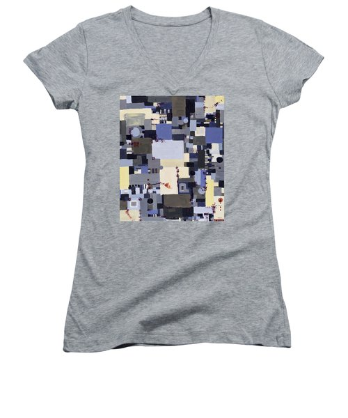 Elastic Dialog Women's V-Neck T-Shirt (Junior Cut) by Regina Valluzzi