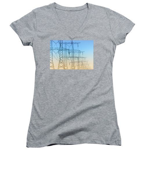 Electricity Pylons Standing In A Row Women's V-Neck