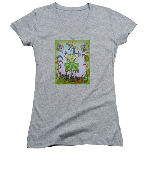 Eleonore Friend Princess Melisa Women's V-Neck T-Shirt (Junior Cut) by Marie Schwarzer