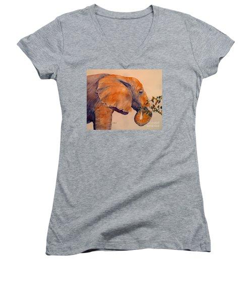 Elephant Eating Women's V-Neck