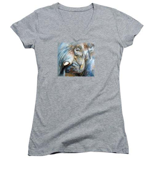 Women's V-Neck T-Shirt (Junior Cut) featuring the painting Elephant Eye by Jieming Wang