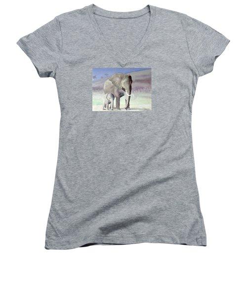 Elephant Family Women's V-Neck T-Shirt