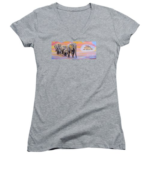 Women's V-Neck T-Shirt (Junior Cut) featuring the painting Elephant Fantasy Must Open by Phyllis Kaltenbach