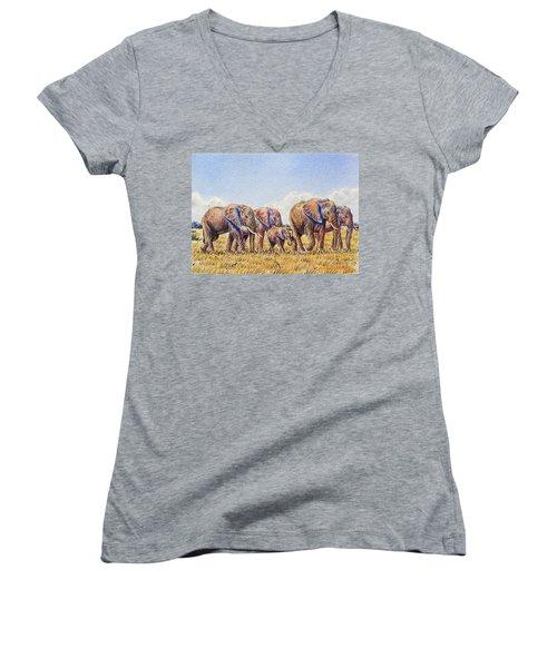 Elephants Walking Women's V-Neck