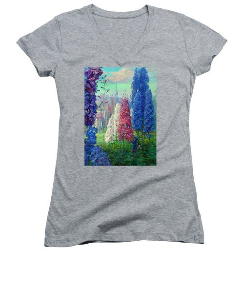 Elf And Fantastic Flowers Women's V-Neck (Athletic Fit)