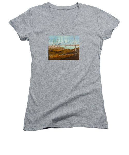 Women's V-Neck T-Shirt (Junior Cut) featuring the painting Elk Swamp by Richard Faulkner