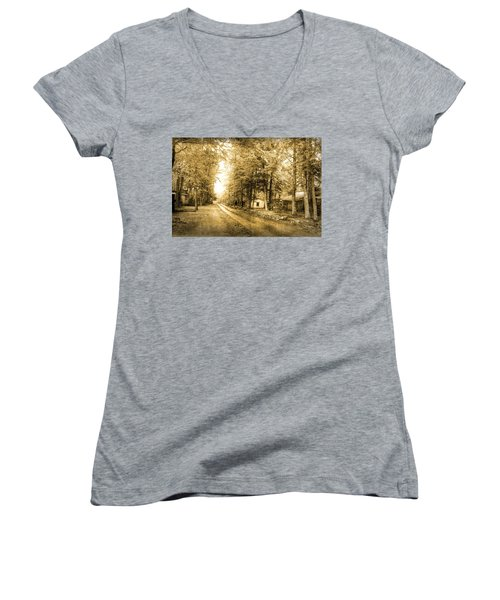 Elkmont Ghost Town Women's V-Neck T-Shirt (Junior Cut) by Michael Eingle