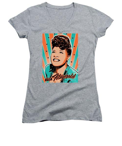 Ella Fitzgerald Pop Art Women's V-Neck T-Shirt