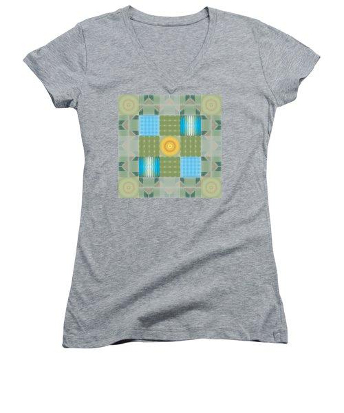 Women's V-Neck T-Shirt (Junior Cut) featuring the digital art Ellipse Quilt 1 by Kevin McLaughlin