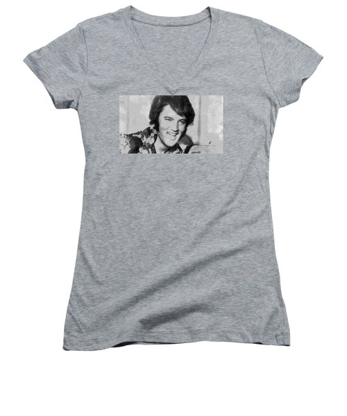 Elvis Presley Rock N Roll Star Women's V-Neck T-Shirt (Junior Cut) by Georgi Dimitrov