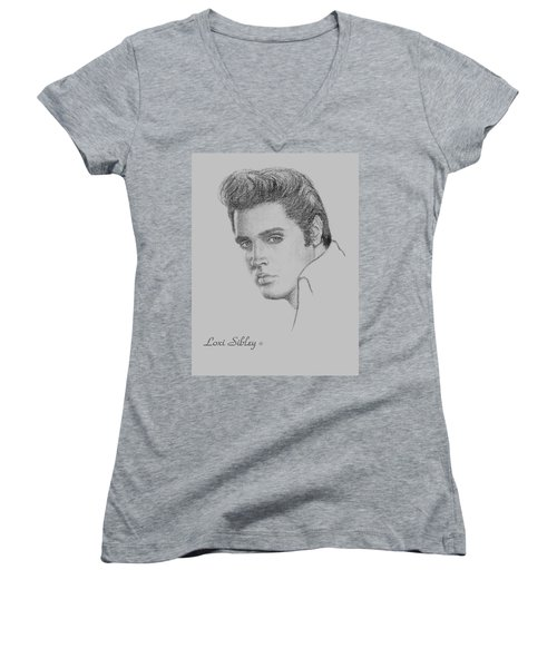 Elvis In Charcoal Women's V-Neck T-Shirt (Junior Cut) by Loxi Sibley