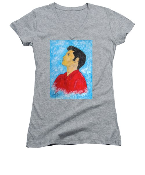 Women's V-Neck T-Shirt (Junior Cut) featuring the painting Elvis Presley Singing by Kathy Marrs Chandler