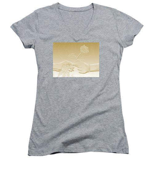 Embossed Gold Rose By Jan Marvin Studios Women's V-Neck T-Shirt