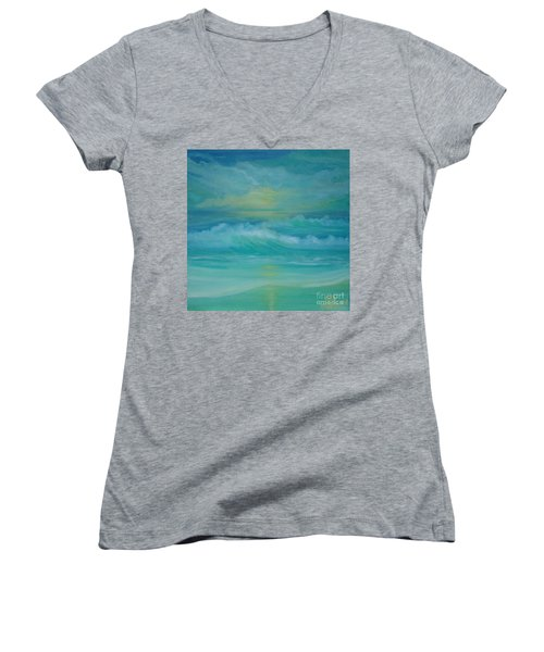 Emerald Waves Women's V-Neck T-Shirt (Junior Cut) by Holly Martinson
