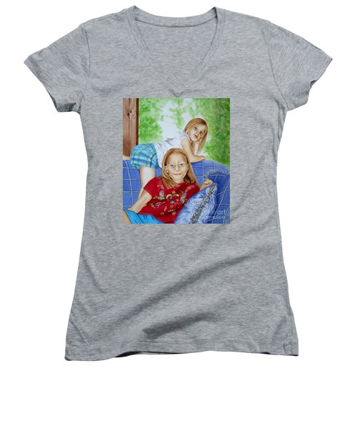 Emi And Mackenzie Women's V-Neck T-Shirt