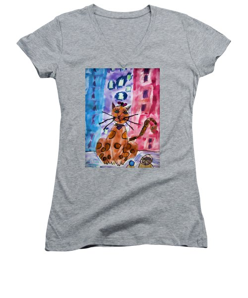 Emma's Spotted Kitty Women's V-Neck (Athletic Fit)