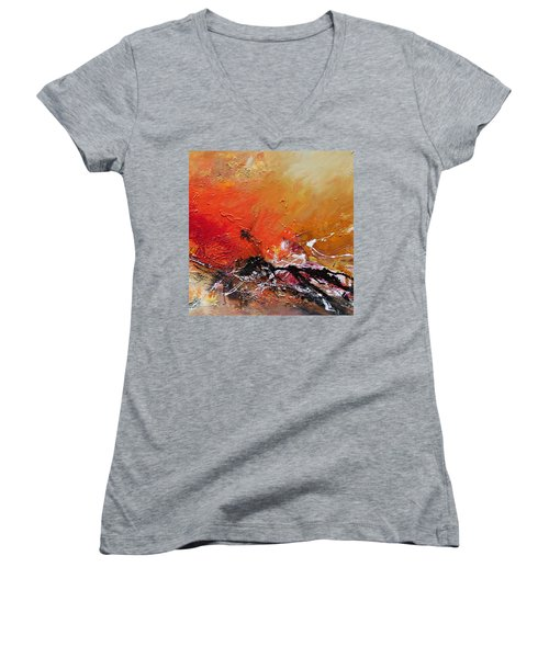 Women's V-Neck T-Shirt (Junior Cut) featuring the painting Emotion 2 by Ismeta Gruenwald