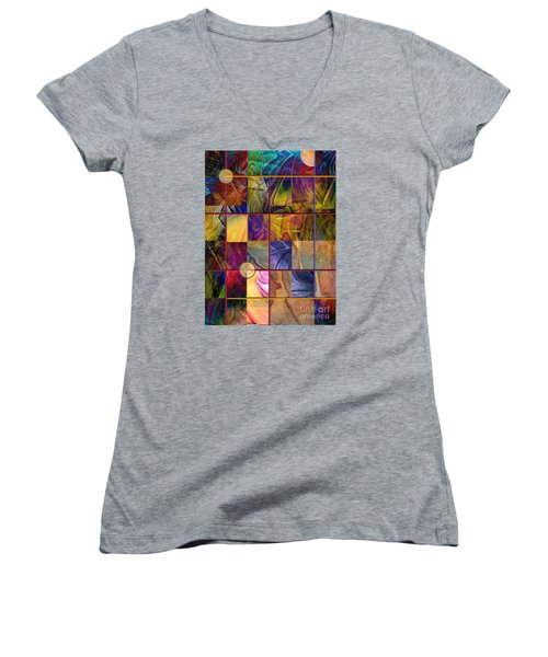 Emotive Tapestry Women's V-Neck T-Shirt (Junior Cut) by Allison Ashton