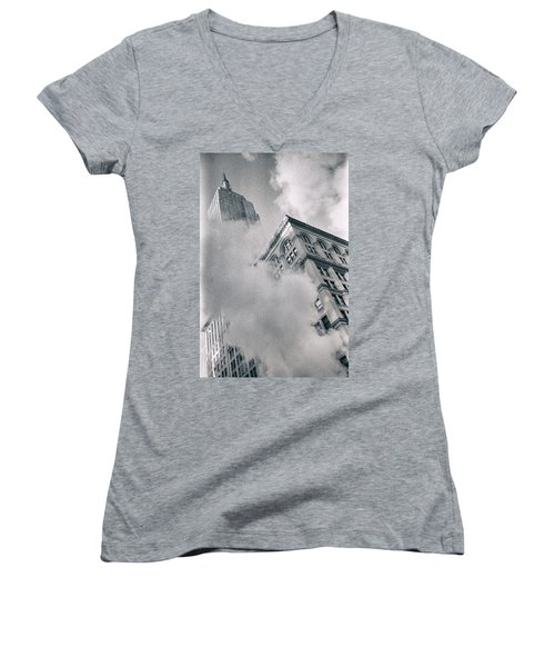 Empire State Building And Steam Women's V-Neck