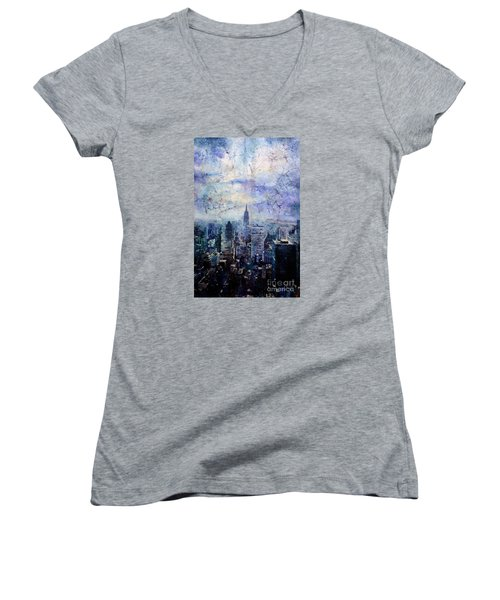 Empire State Building In Blue Women's V-Neck T-Shirt (Junior Cut) by Ryan Fox