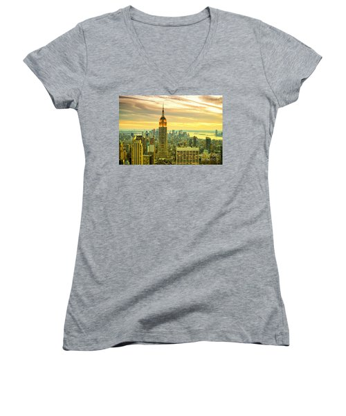 Empire State Building In The Evening Women's V-Neck (Athletic Fit)