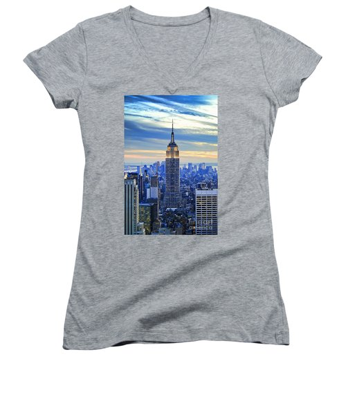 Empire State Building New York City Usa Women's V-Neck T-Shirt (Junior Cut) by Sabine Jacobs