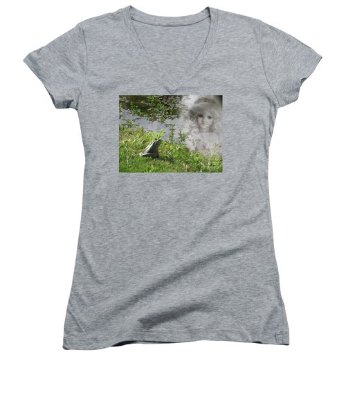 Women's V-Neck T-Shirt (Junior Cut) featuring the photograph Enchanted Prince Fairy Tale by Ella Kaye Dickey