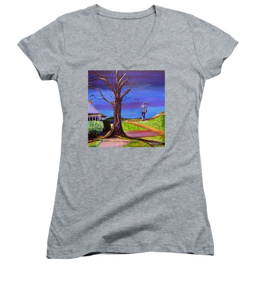 Women's V-Neck T-Shirt (Junior Cut) featuring the painting End Of Day Highway 98 by Ecinja Art Works