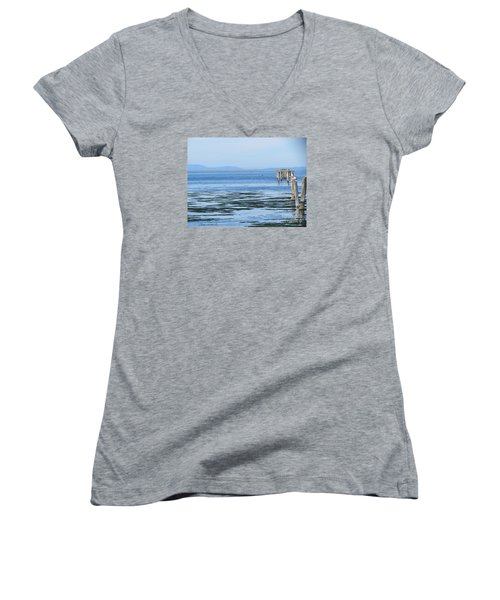 End Of The World In Blue Women's V-Neck (Athletic Fit)