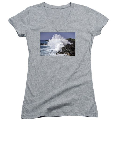 End Of The World Explosion Women's V-Neck T-Shirt (Junior Cut) by Denise Bird