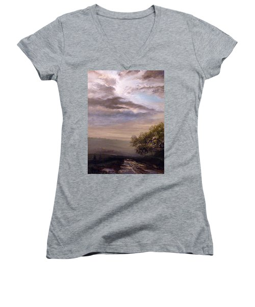 Women's V-Neck T-Shirt (Junior Cut) featuring the painting Endless Road Eternal Being by Mikhail Savchenko