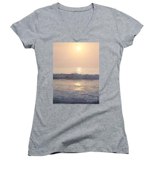Women's V-Neck T-Shirt (Junior Cut) featuring the photograph Hampton Beach Wave Ends With A Splash by Eunice Miller