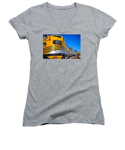 Women's V-Neck T-Shirt (Junior Cut) featuring the photograph Engine 5771 by Shannon Harrington