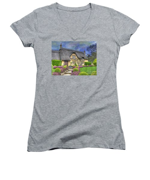 English Country Cottage Women's V-Neck T-Shirt (Junior Cut) by Juli Scalzi