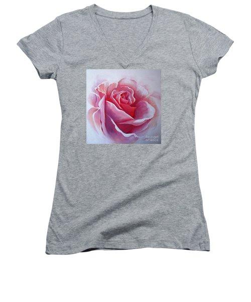 English Rose Women's V-Neck T-Shirt (Junior Cut) by Sandra Phryce-Jones