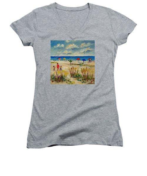 Women's V-Neck T-Shirt (Junior Cut) featuring the painting Enjoying Siesta Beach by Lou Ann Bagnall
